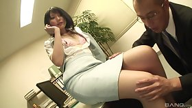 Secretary drops on her knees to suck a dick and gets fucked non-native behind
