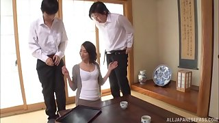 Asian wife giving huge dicks superb blowjob in mmf porn