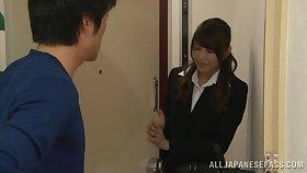 Japanese office lady Akari Himemiya gets fucked on the sofa