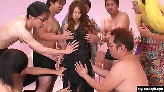 Asian babe got cum coverage after gang bang