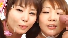 Japanese girl cum play together with swap